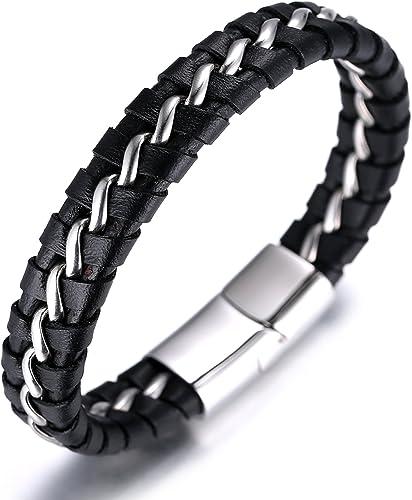 Halukakah Enfants ● Solo Junior ● Personnaliser Garçons Bracelet Cuir Véritable Noir 6-12+3 Ans. Fermoir Magnétique C...