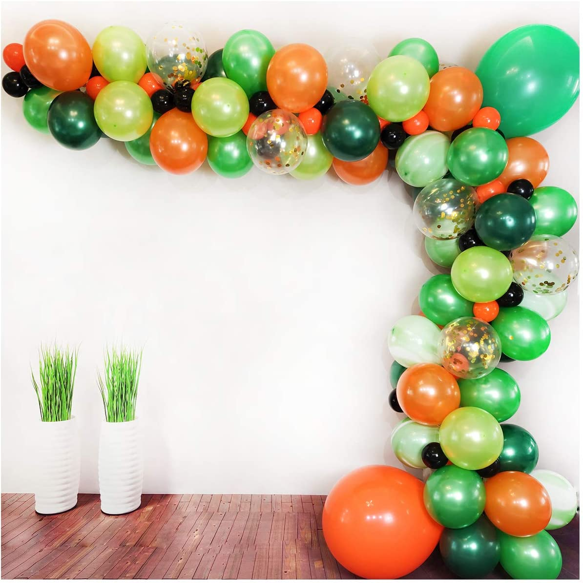 Luvier Green And Orange Latex Balloon Garland Arch Kit For Jungle/Dinosaur Themed Party,112pcs Marble/Confetti/Large To Small Balloons With Strip/Perfect Backdrop For Boy's Birthday(Orange-Green)