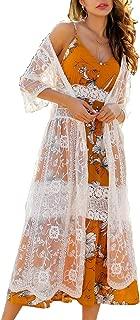 Women's Lace Cardigan Floral Crochet Sheer Beach Cover Ups Long Open Kimono