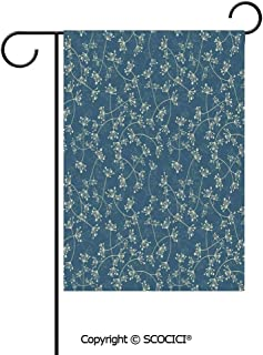 SCOCICI Double Sided Washable Customized Unique 12×18(in) Garden Flag Nature Elegance Featured Twiggy Plants Petals Spring Fashion Design,Light Green Slate Blue,Flag Pole NOT Included
