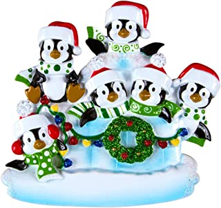 Personalized Penguin Family of 6 Christmas Tree Ornament 2019 - Children Sibling Friend in Lighten Snow House Tradition Arctic Winter New Home North Pole Gift Year - Free Customization (Six)