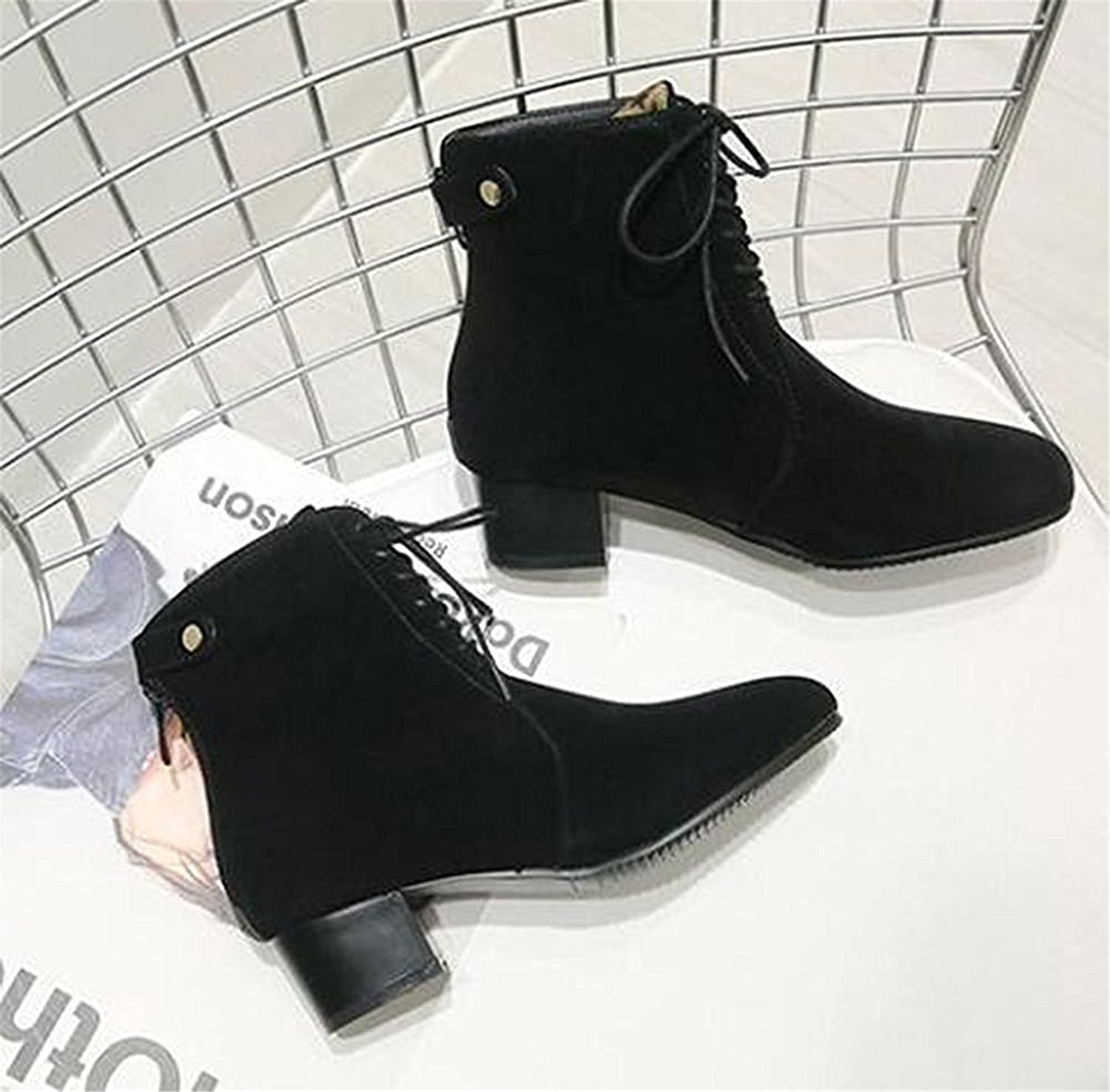 Robert Reyna Fashion Women's Elegant Frosted Lace Up Square Toe Mid Chunky Heel Boots