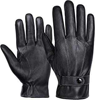 Winter Luxury Nappa Leather Gloves for Men - Business - Touchscreen - Waterproof - Cold Weather - Fleece Lining - Driving - Commuting (Free Size)