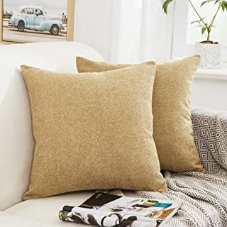 MERNETTE Pack of 2, Thick Chenille Decorative Square Throw Pillow Cover Cushion Covers Pillowcase, Home Decor Decorations for Sofa Couch Bed Chair 18x18 Inch/45x45 cm (Wheat)