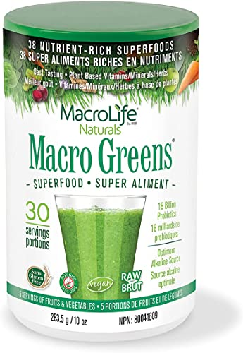 2021 MacroLife Naturals Macro Greens Powder - 38 Superfood Mineral, Enzyme, Antioxidant & Herbal Blend - Plant-Based outlet sale Immune, Energy outlet sale & Cleanse - Non-GMO, Vegan, Gluten-Free, Dairy-Free - 10oz (30 Servings) sale