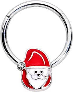 Body Candy Unisex 16G Steel Hinged Segment Ring Seamless Cartilage Nipple Ring Santa Claus Nose Hoops 3/8
