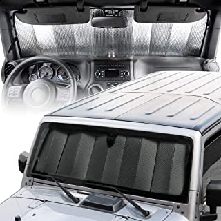 BDK Custom Fit Windshield Sun Shade for Jeep Wrangler - Exact Fit Fordable Accordion UV Protection Fits 1987-2019 JK, JL, CJ, YJ,& TJ 53