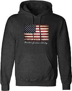 Vintage American Flag Hoodie Pullover Fleece for Men -...