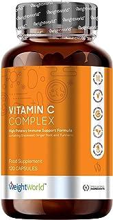 Vitamina C Complex - Dosis Alta de Vitamina C, Zinc y Hierro, Refuerza Sistema Inmunitario, Disminuye el Cansancio, Con Vitamina B12 y Cúrcuma, Suplemento Vitamínico Natural, 120 Cápsulas Veganas