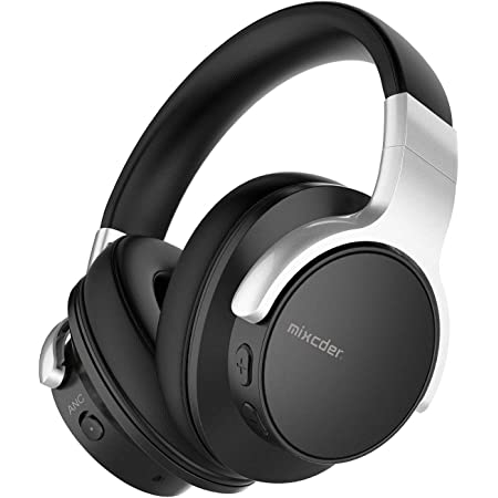 Mixcder E7 Active Noise Cancelling Headphones Bluetooth 5.0 Wireless Over Ear Headset with Hi-Fi Deep Bass, 30 Hours Playtime, Quick Charge, CVC8.0 Mic for PC/Cell Phones/TV - Black