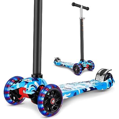 WeSkate Patinete infantil de tres ruedas con luces LED de poliuretano, altura ajustable y doble rueda trasera grande, para niños y niñas, de 3 a 12 ...