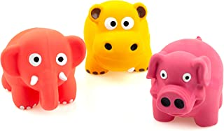 Chiwava 3 Pack 3.2'' Squeak Latex Puppy Toy Lovely Standing Animal Sets Pet Interactive Play for Small Dogs Assorted Color
