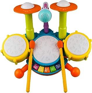 Rabing Ensemble de Batterie Pour Enfants,Instrument de Musique avec 2 Baguettes de Batterie, Lumière Flash Beats et Microp...