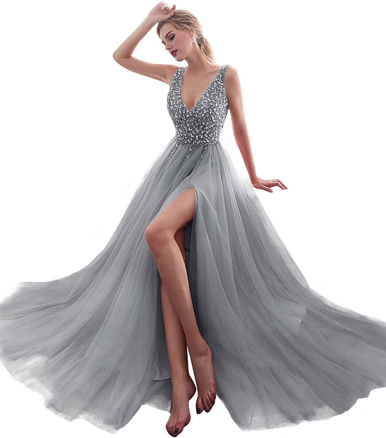 Dreambridal Women's Sexy Deep V Neck Tulle Maxi Long Evening Prom Bridesmaid Dresses ON001