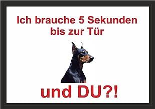 PEMA INDIGOS UG - Acht/Fun schild - Dobermann deurplaat voor kooien, klemmen, huisdieren, deur, dier, aquarium, laminiert ...