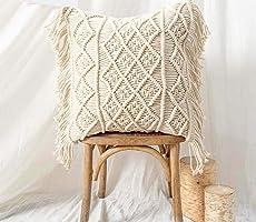 pepme Macrame Cushion Cover Cotton Throw Pillows Boho Handmade Knit case Sofa Decor Fringes (Square, Off-White, 16x16...
