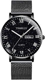 Men's Watch, Waterproof Luminous Quartz Watch, Black Star Gift Watch Date Week Stainless Steel Net