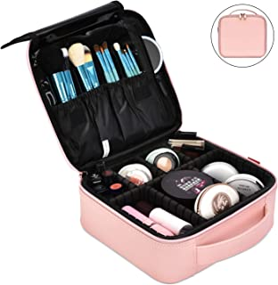NiceEbag Makeup Bag Travel Cosmetic Bag for Women Cute Makeup Case Large Leather Cosmetic Train Case Organizer with Adjust...