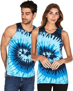 Tie Dye Tank Top Men Women - Fun Bright Colotful Tops, Blue Ocean, XX-Large