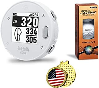 $94 » GolfBuddy Voice X Golf GPS/Rangefinder Bundle with 1 Sleeve of Titleist Pro V1 Balls, 1 Ball Marker and 1 Hat Clip - Bluet...