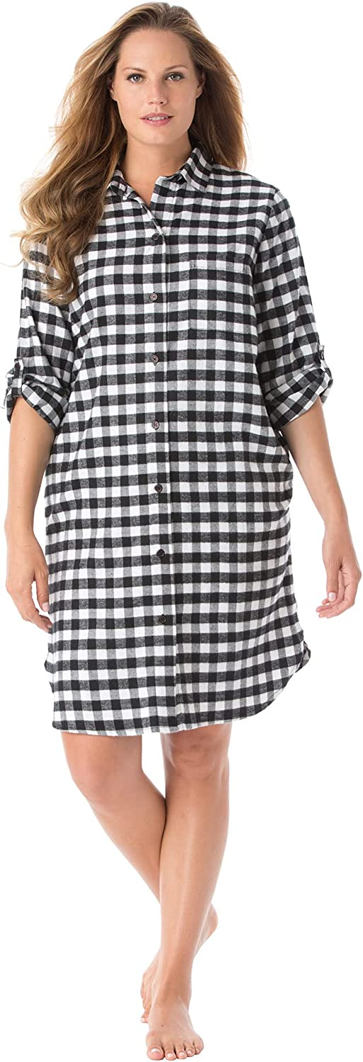 Dreams & Co. Women's Plus Size Sleepshirt In Plaid Flannel With Button Front