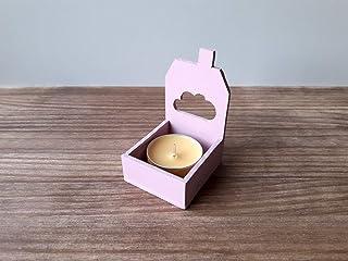 Pack de tres portavelas rosa con forma de casita de estilo nórdico - Incluye tres velas