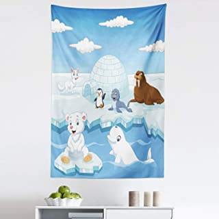 Ambesonne Animal Tapestry, Image of Arctics Animals Polar Bears Seal Penguins Wolfs Whales Work of Art, Fabric Wall Hanging Decor for Bedroom Living Room Dorm, 30