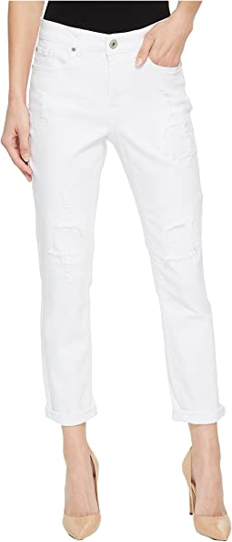 "25"" Stretch Twill Five-Pocket Boyfriend Pants in White"