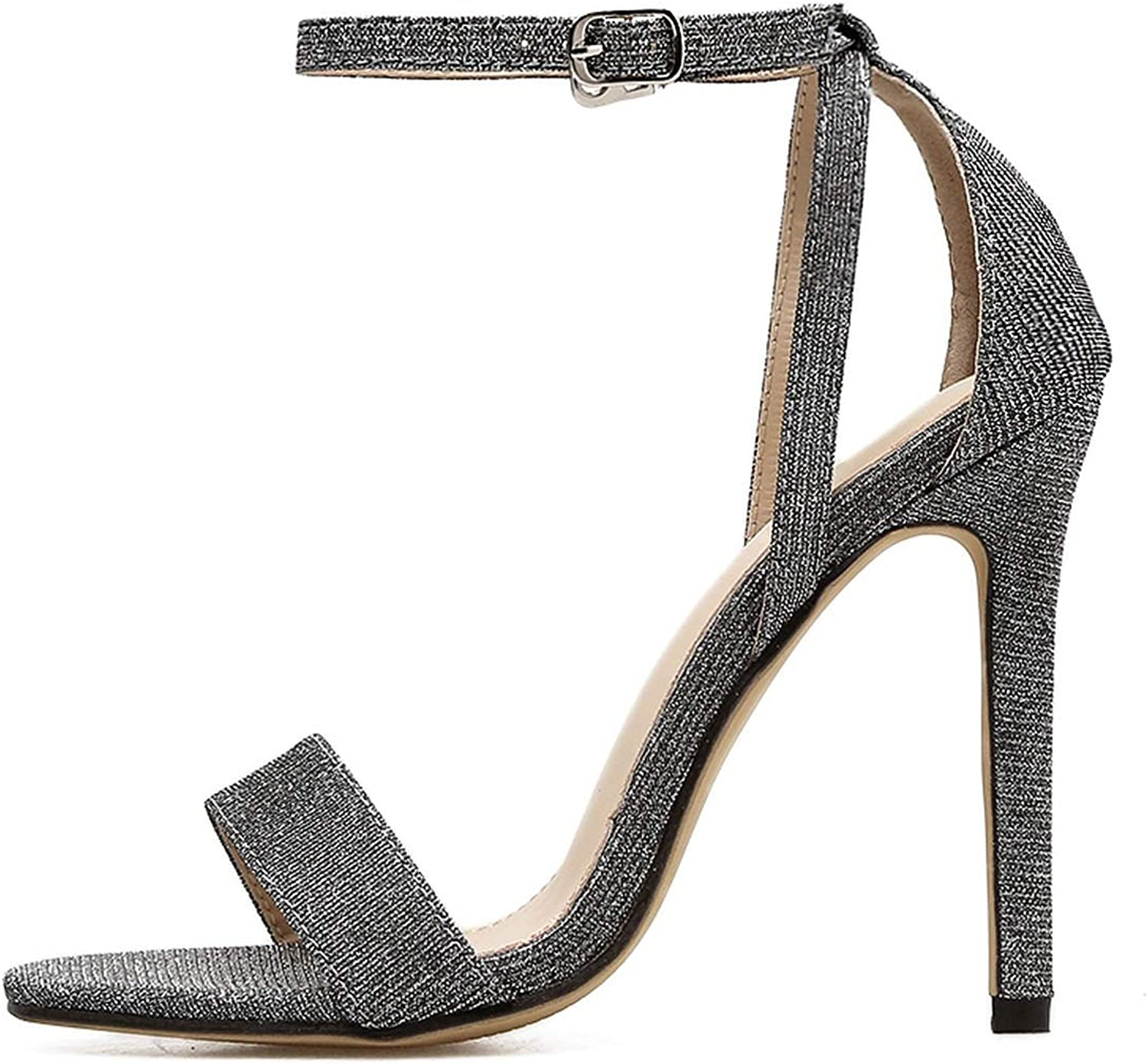 Sexy Women Silver Wedding shoes Open Toe Stiletto High Heels shoes Woman Sandals Female