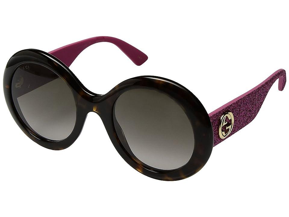 Gucci GG0101S (Dark Havana/Pink Glitter Temples/Brown Gradient) Fashion Sunglasses