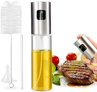 Nivlan Pulverizador Aceite, Pulverizador de Aceite Portátil Aceite con Acero Inoxidable de Primera Calidad y Vidrio de Calidad para Cocinar, Barbacoa, Asar, Hornear, Ensalada (100 ML)