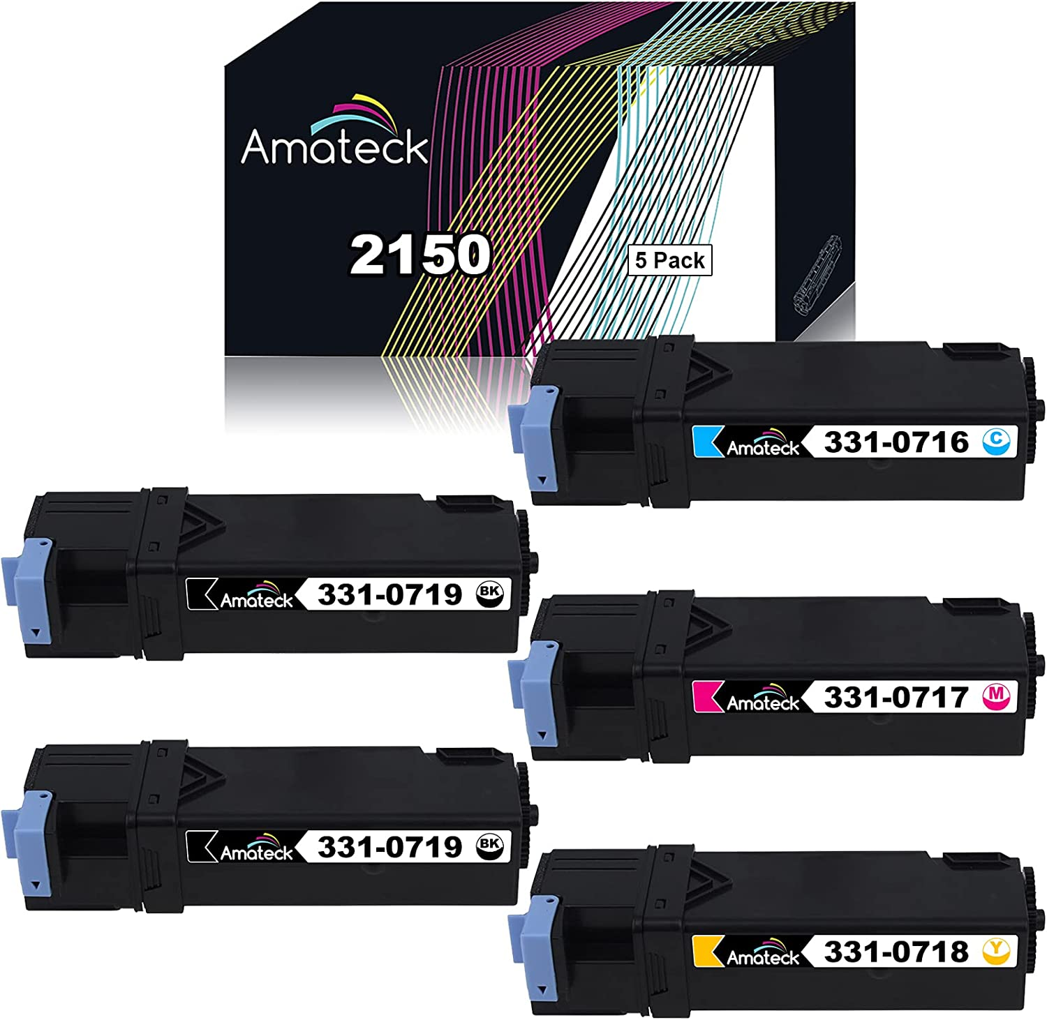 Amateck Compatible Toner Cartridge Replacement for Dell 331 0716 0717 0718 0719 5 Pack for 2150cdn, 2150cn, 2155cdn, 2155cn