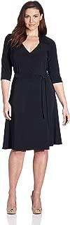 Women's Plus-Size 3/4 Sleeve Full Wrap Dress