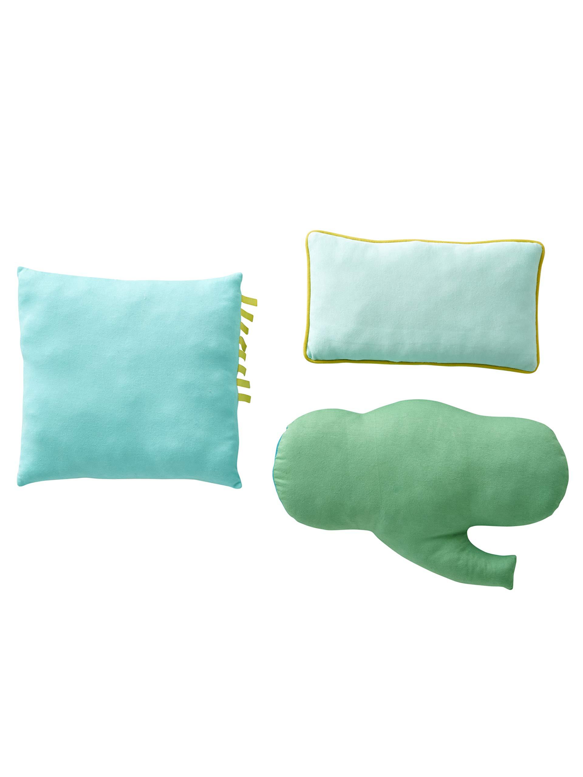VERTBAUDET Lote de 3 Cojines de Animales Verde Claro Bicolor