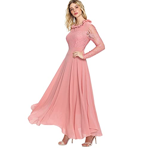 5595ff3d2dee0 Milumia Women's Vintage Floral Lace Long Sleeve Ruched Neck Flowy Long Dress