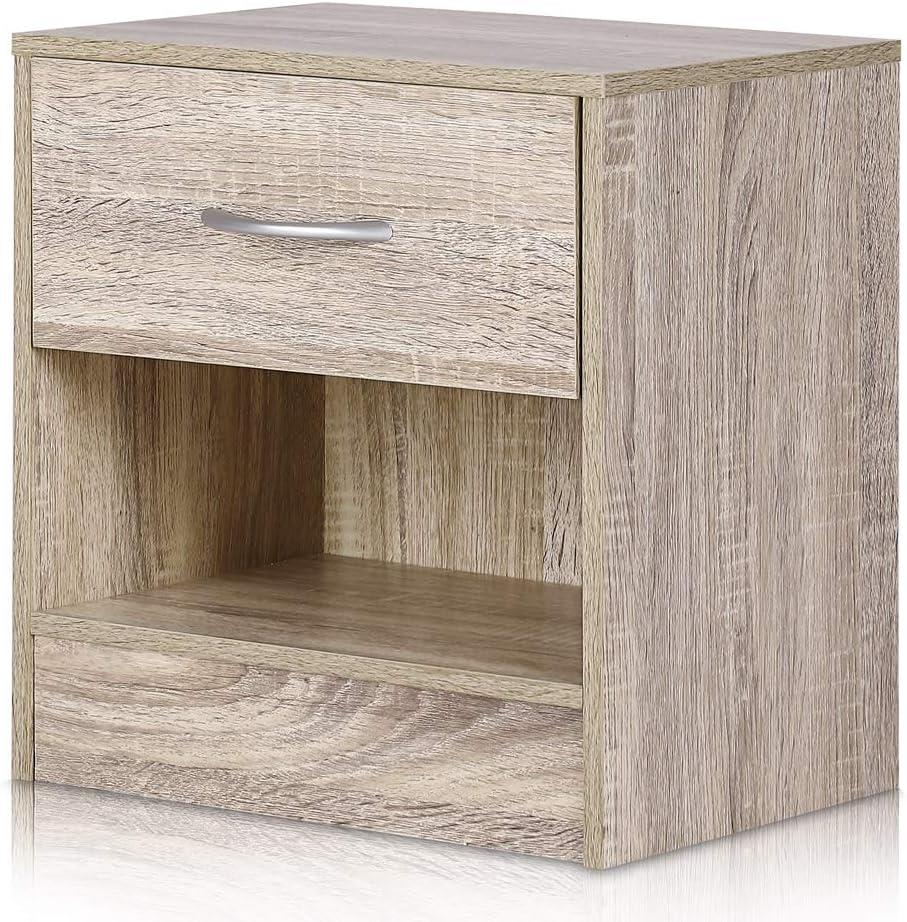 Deuba Nachttisch mit Schublade und Ablagefach 41 x 39 x 28 cm Holz Nachtkommode Nachtkonsole Nachtschrank Schlafzimmer – Eiche