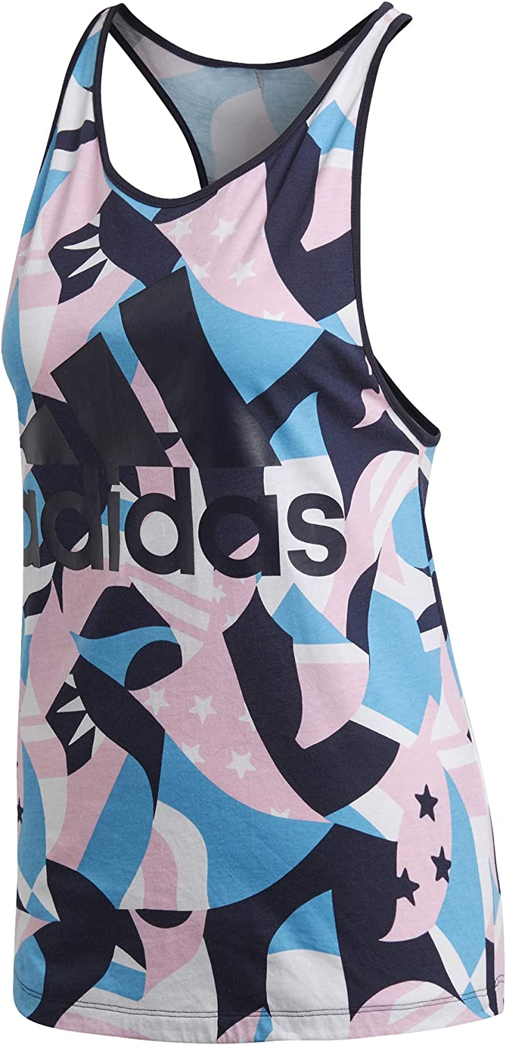 adidas Women ID Printed Tshirts Tank Top Fitness Running Gym Work Out