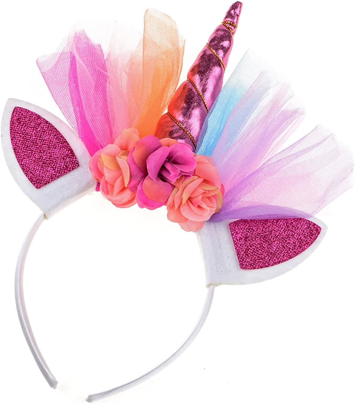 Rainbow dash inspired Unicorn birthday party headband Rainbow Unicorn ears headband Rainbow unicorn headband