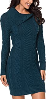 Women Asymmetric Buttoned Collar Knit Stretchable Elasticity Long Sleeve Slim Fit Sweater Dress