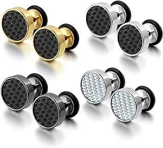 Cupimatch 4 Pairs Stainless Steel Women Stud Earrings for Men Cool Ear Plugs Piercings