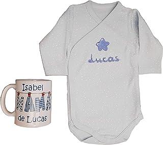 Canastilla bebé personalizada en celeste. Regalo original para la mamá y el recién nacido, personalizado y hecho a mano. I...