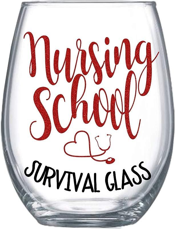 Zoey Christina Nursing School Survival Glass 21 Ounces Stemless Wine Glass 0006