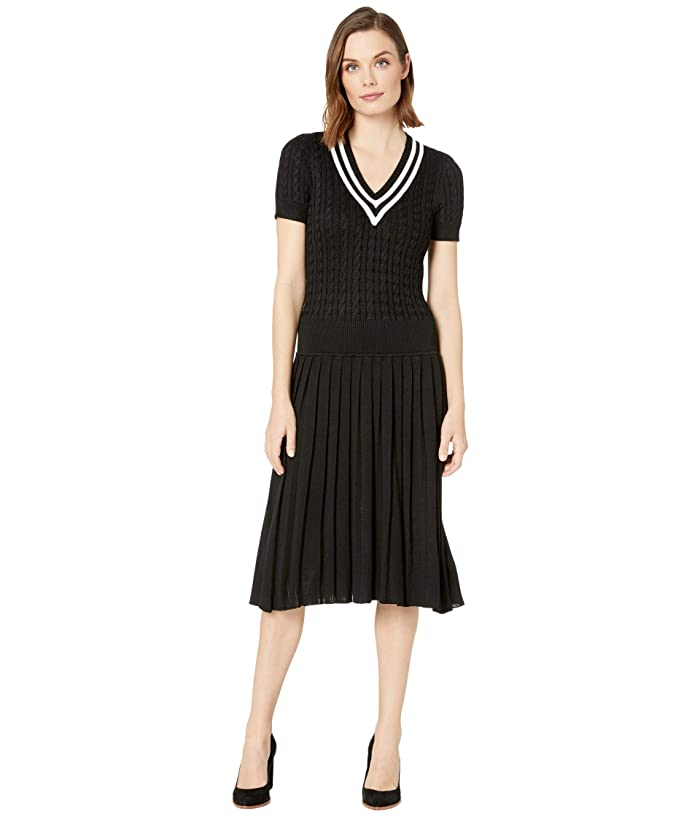 1930s Dresses | 30s Art Deco Dress LAUREN Ralph Lauren Pleated Cable-Knit Dress Polo BlackMascarpone Cream Womens Clothing $105.00 AT vintagedancer.com