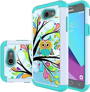 Samsung Galaxy J3 Mission / J3 Eclipse / J3 Emerge / J3 Prime / J3 Luna Pro / Sol 2 / Amp Prime 2 / Express Prime 2 Case, MicroP Hybrid Dual Layer Silicone Phone Case for J3 2017(Green Owl)