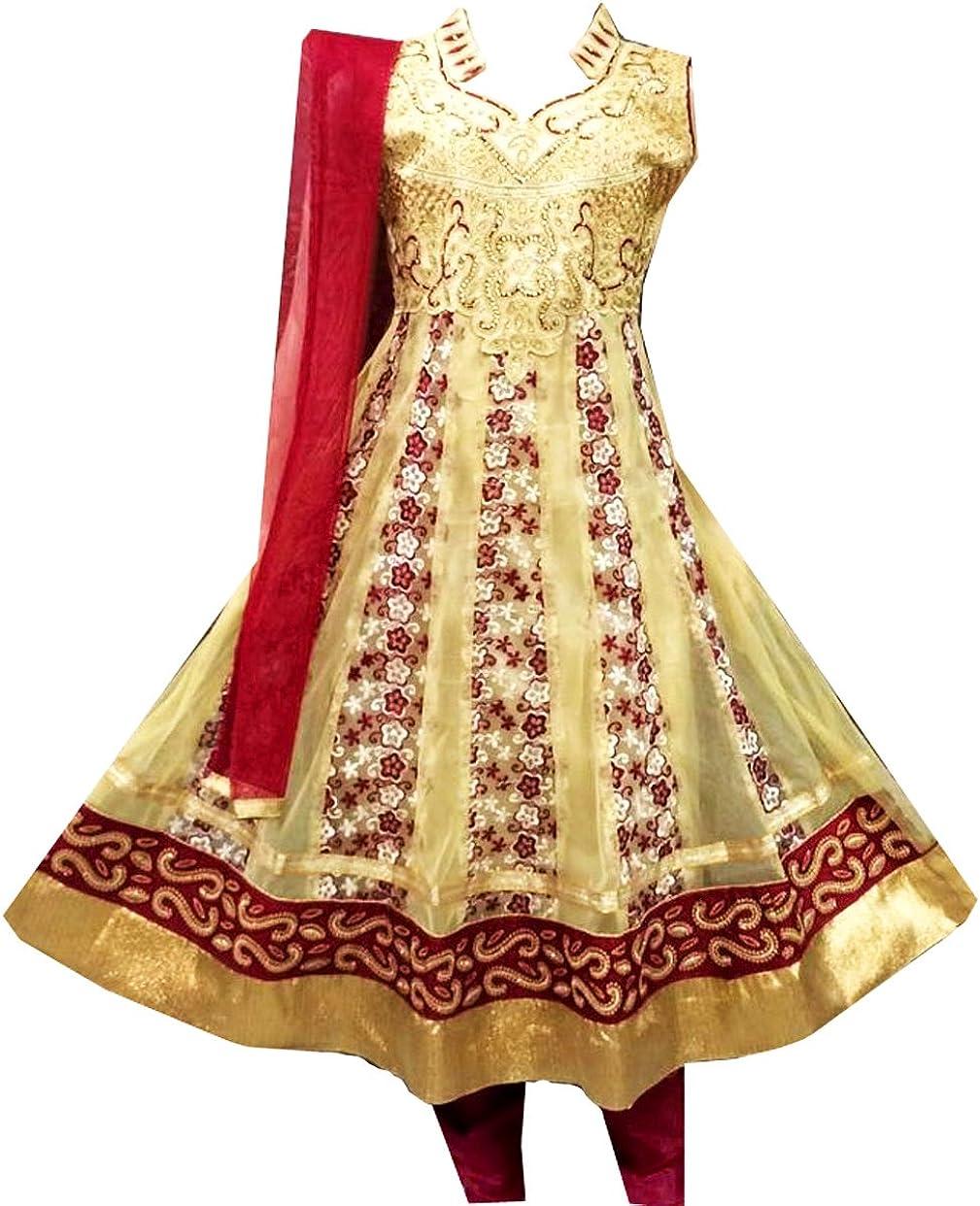 Zaffron Girls' Designer Golden Salwar Kameez Indian Party Dress Clothing with Colored Embroidery