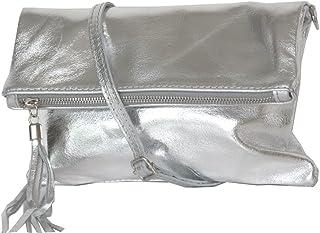 zarolo Damen Umhängetasche,Tasche klein, Schultertasche, Cross Body, Leder Clutch echtes Leder, Handtasche Italienische Ha...