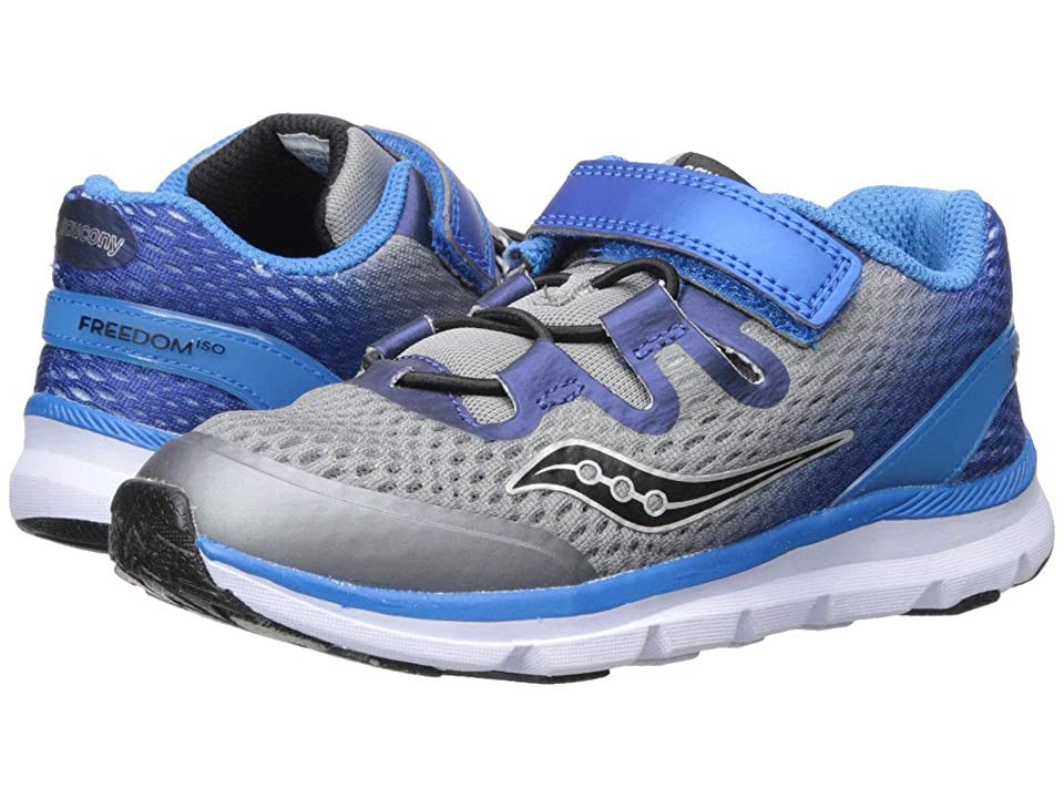 Saucony Kids Freedom ISO (Toddler/Little Kid) (Grey/Blue) Boys Shoes