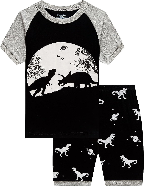 Boys Pajamas 100% Cotton Summer Pjs for Toddler Boy Train Dinosaur 2 Piece Sleepwear Short Set Clothes Size 2-10T