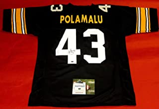 2a4622871 TROY POLAMALU AUTOGRAPHED PITTSBURGH STEELERS THROWBACK JERSEY AASH
