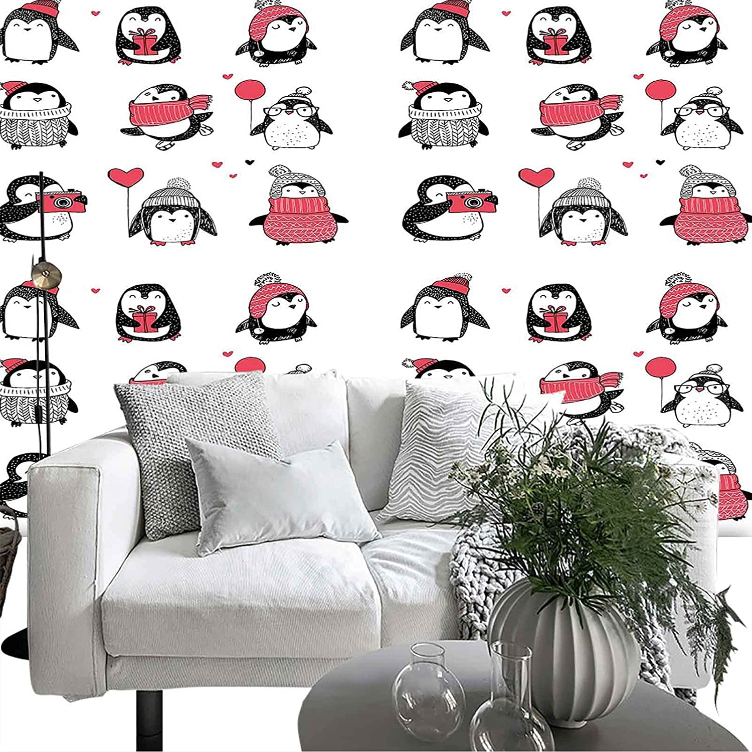 Jacksonville Mall Removable Self-Adhesive Winter Cute Penguins Hand Style Drawn Se Quantity limited